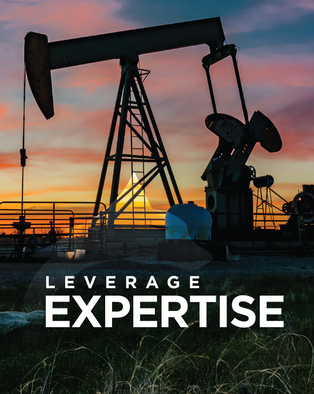 Oil pump silhouette at sunset with leverage expertise written in foreground